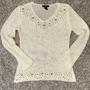 BCBGMAXAZRIA ivory v-neck open weave sweater